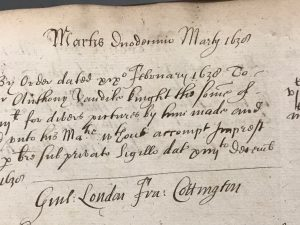 Order following Privy Seal warrant to pay Van Dyck £603 (12 March 1639)