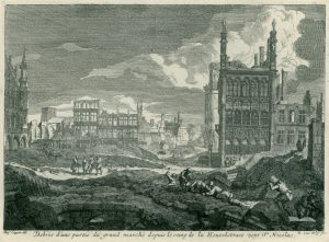 The ruins of the Grand Place, Brussels, after the French bombardment 1695
