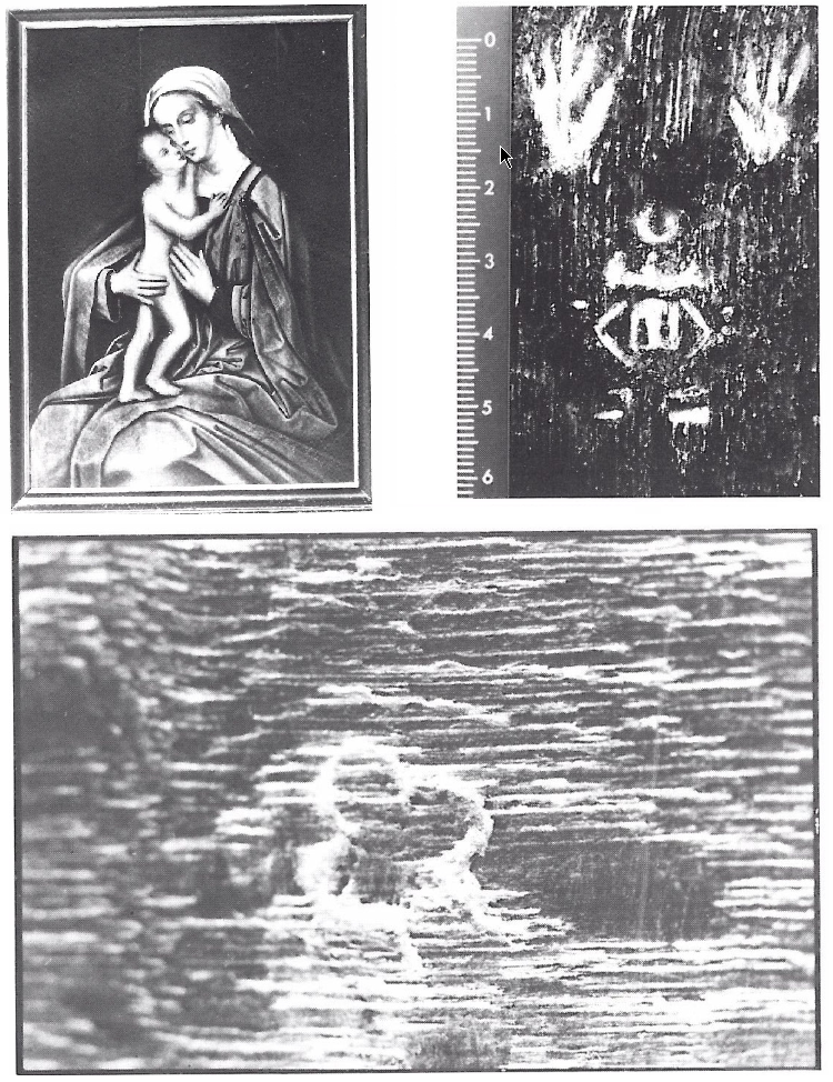 Fig. 3 - Burchtmerk en merk van Michiel Claessens op Anonymus, Madonna met kind (cat. nr. 18), 107 x 76 cm, Merelbeke, privé-verz. (foto: W. Van Damme, Merelbeke).