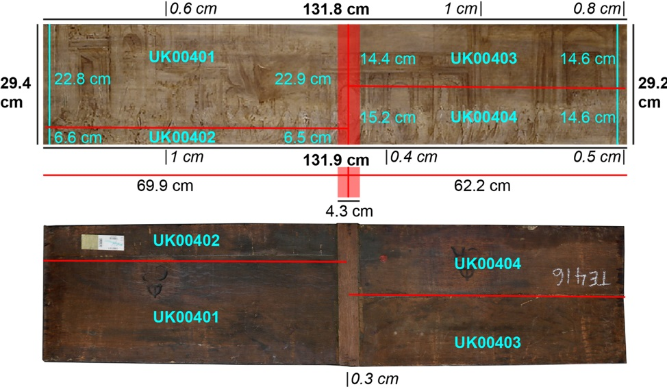 Front and back of the panel. Red lines indicate the four separate planks.
